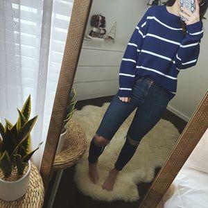 H&M Blue Striped Oversized Sweater